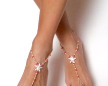 Coral Starfish Beach Barefoot Sandals Coral Foot Jewelry Starfish Anklet Beach Wedding Shoes  Beach Anklet Coral Sandals Starfish Jewelry