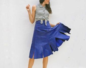 Vintage Leather Skirt, 70s High Waist Vintage Leather Skirt, Blue Leather Skirt, Midi Skirt, Leather Pencil Skirt, Boho Midi Skirt, 1970s