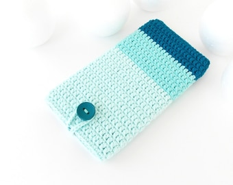 Teal iPhone 7 phone sock, Mint Google Pixel case, vegan Honor 8 cover, Ombre Samsung s8 sleeve, Huawei P10 cozy, LG K10 pouch, HTC 10 sock