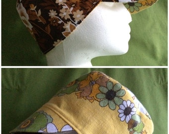 Reversible Castro Hat / Conductor Hat / Cloche Cap: Vintage Floral Linen & Cotton- Yellow, Green, Brown, Gold; Small, Handmade