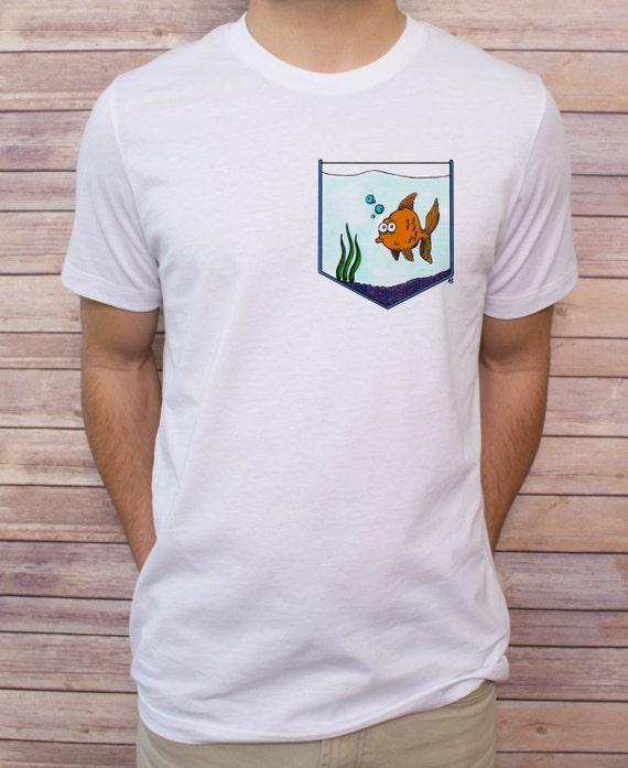 Men 39 s fish bowl pocket t shirt v neck tank top by for Men s v neck pocket tee shirts