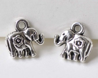 Antique Silver Small 3D Elephant Charm Pendants 8x12mm Set of 10 A8530