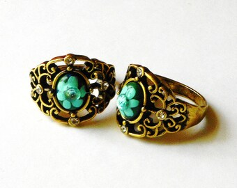 Gold Filigree Ring Hand Painted Flower Vintage Style Jewelry