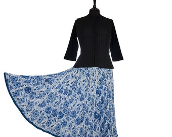 Block Printed CRINKLE SKIRT - One size 8 to 18 - Cornflower blue and white floral design