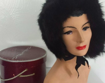 Vintage 50s Black fur hat