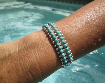 Native American Hand Made Petit Point Turquoise and Sterling Cuff Bracelet