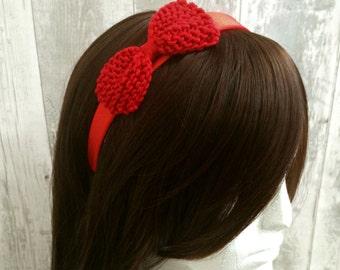 Pin Up Headband, Red Bow Headband, Dolly Bow Hair Accessories, Retro Headband, Bow Headband Women, Gift for Bridesmaids, Gifts for Teen Girl