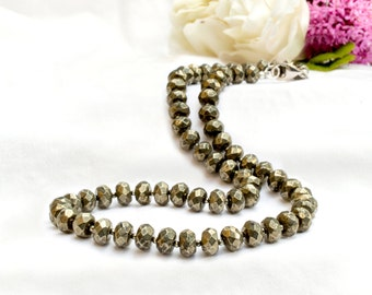 Faceted Pyrite Necklace with 925 sterling silver *Free worldwide shipping*