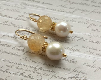 Citrine, Pearl & Gold Plated Sterling Silver Earrings