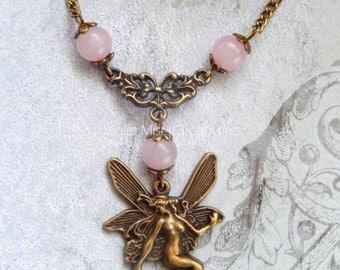 Bronze Fairy Rose Quartz Gemstone Bead Vintage Necklace Gothic/Wiccan/Pagan UK