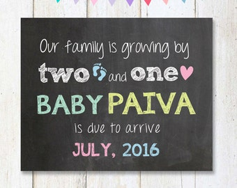 Pregnancy Announcement Chalkboard Sign - Pregnancy reveal Photo prop chalk board poster - DIGITAL