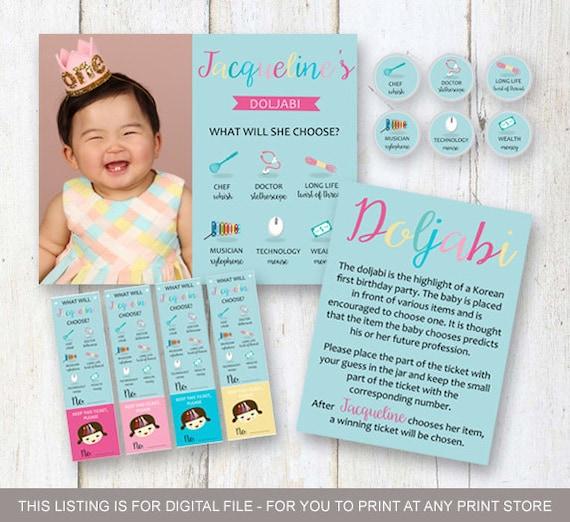 Custom Korean Baby Girl First Birthday Party SET Aqua Blue