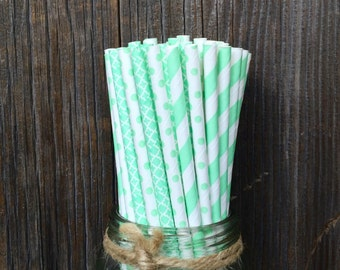 75 Mint Green Straws, Wedding, Bridal or Baby Shower, Luncheon, Birthday Supply, Free Shipping!