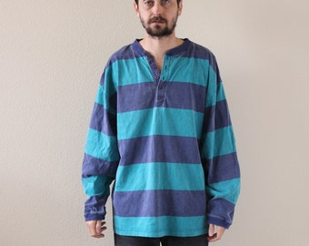 Striped Henley Faded 90s Long Sleeve Shirt Mens XL