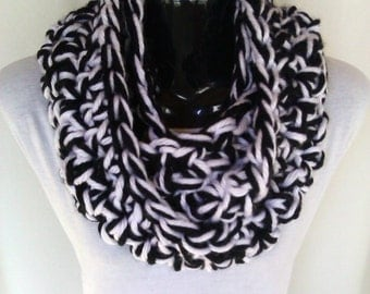 Black and White Crochet Infinity Scarf - Ready to Ship