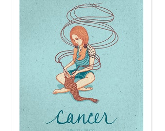 CANCER SALE! Astrological Sun Sign Drawing, Zodiac Print, Illustrated Poster, Birthday Gift, Wall Art, Cancer Art, Woman Design