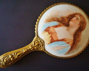 Antique Vintage Victorian Art Nouveau Portrait Medieval Lady Porcelain Hand Mirror