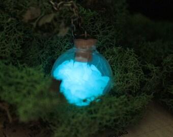 Aqua Blue Glow Globe Magical Fairy Light Necklace