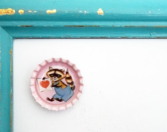 Super Cute Pale Pink 1 Inch Bottle Cap Magnet with an Adorable Retro Vintage Valentine Raccoon Design