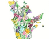Quebec Province Map Wildflowers  8x10 print