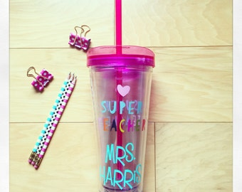 Personalized Super Teacher 22oz double wall tumbler