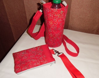 Red Insulated Water Bottle carrier PLUS Zipper Case Wristlet Strap / Bottle Tote