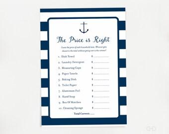 Nautical Price is Right Bridal Shower Game, Navy Blue Stripes Bridal Shower Printable Games, Spring Bridal Shower, Summer, Instant Download