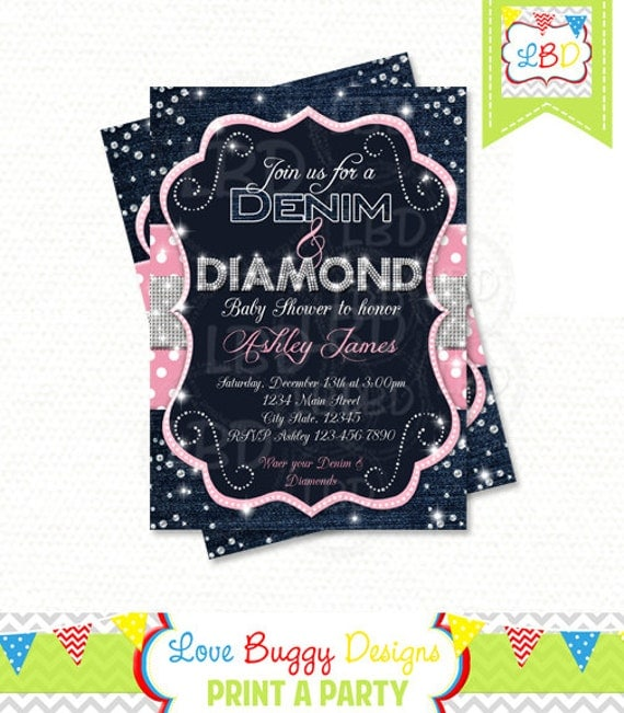 denim and diamonds baby shower invitation style 1 you print