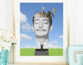 Salvador Dali Portrait Art Print - Surreal collage art poster
