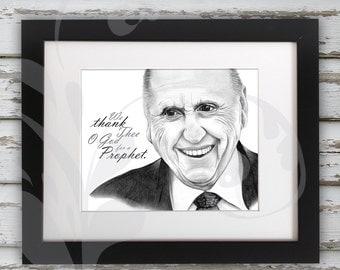 LDS President Thomas S. Monson Graphite Pencil Sketch Portrait Drawing-Original Artwork Titled 'We Thank Thee O God for a Prophet' (digital)