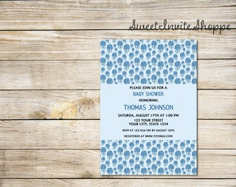 Cloud Baby Shower Invitation, Rain Drops Baby Shower Invitation, Blue Baby Shower Invitation, Boy Baby Shower Invitation, Blue Clouds Invite