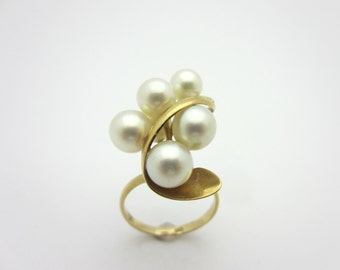 Vintage Pearl Cluster Ring 18k Yellow Gold Sz 6