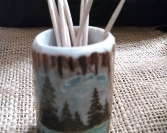 "elk Antler toothpick holder, with an original scenery painting, (trees, mtns., lake) small 2"" high"