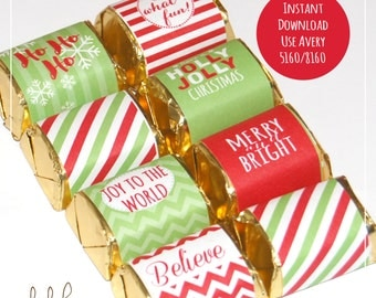 CHRISTMAS Candy Bar Wrappers - Chocolate Nugget Wrappers /  Holiday Mini Candy Bar / Avery Label - Printable Instant Download
