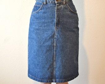 Vintage 80s GAP High Waisted Denim Pencil Skirt -- Excellent Fit!