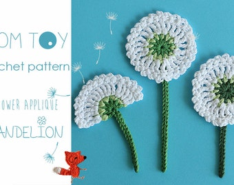 Dandelion flower applique Crochet PATTERN by TomToy, easy crochet flower embellishment step by step tutorial