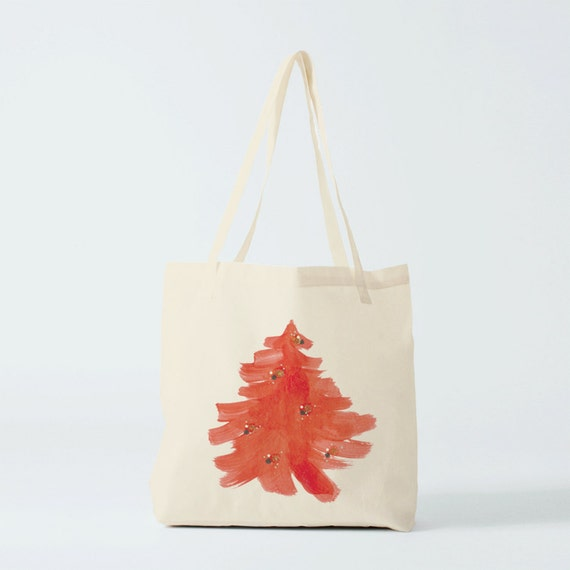 Christmas Tote Bag, Red christmas tree, shopper bag, groceries bag, cotton bag, gift woman, gift coworker, novelty gift, canvas bag.
