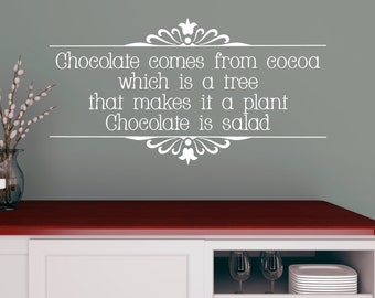 Chocolate is Salad - humorous quote/ funny quote/ chocolate quote/ home decor/ kitchen art/ best friend gift/ chocolate lover/ chocolate art