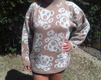 Teddy bear sweater,Needles and Yarn,large,sweater, Free US shipping