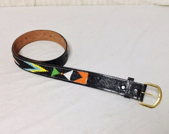 "Tooled leather belt,Beaded Leather Belt, 28"" , Buckle"
