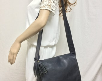 Sereta ,Large Leather Purse, bag,Blue leather, Shoulder Bag, Tassel