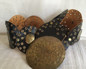 Free Ship Laise Adzer Bohemian black leather Belt Moroccan Copper Buckle boho belt