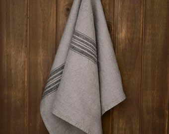 Linen Tea Towel Stonewashed Charcoal with Black Stripes