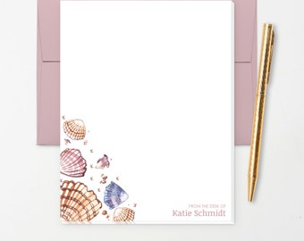 Personalized Note Pad // Watercolor Seashells with Name