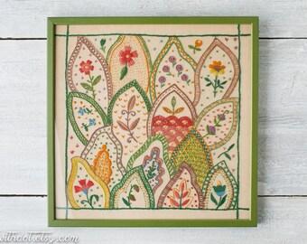 Vintage Framed Embroidery - Embroidered Art - Framed Crewel