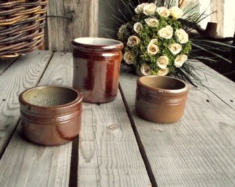 Rustic Stoneware Crocks - Brown Glazed Pots - Set of 3 - French Vintage Pottery Containers - Made in France