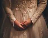 Vintage Wedding Dress - Repurposed - Size 2-4 - Lace & Chiffon - Long Sleeve