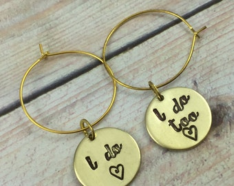 Set of TWO Personalized Wedding Wine Glass Charm, I DO and I Do TOO Wine Charms, Bride & Groom Wedding Glass Charm, Hand Stamped Wine Charm