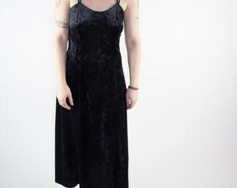 Vintage Dress | 90s Velvet Goth Dress | Small