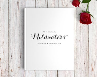Modern Wedding Guest Book, Personalised Wedding Guest Book, Calligraphy Wedding Guest Book, Bride and Groom, SKU: GB 082